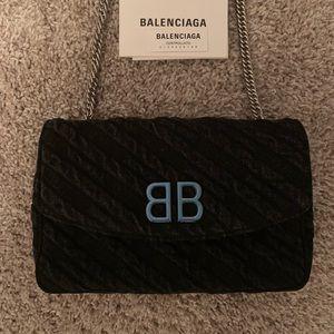 Balenciaga Bags - Bb Chain Wallet Destroyed Blue Denim Cross Body